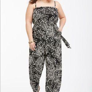 Lane Bryant Palm Print Jumpsuit SZ 14/16 NWOT